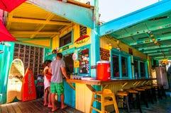 Picturesque Mermaids Cafe in Kapaa, Kauai. KAPAA, HAWAII - AUGUST 28 - day view of picturesque Mermaids Cafe on August 28, 2013 in Kapaa, Kauai, HI, USA stock photography