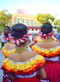 Picturesque Mexican women style. Picturesque Mexican women dancers clothing,hairstyles and accessories from behind at Varna square, Bulgaria.August 3rd 2014 Royalty Free Stock Photo