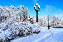 A picturesque Monastery Island winter landscape, covered with snow, with a beautiful lantern in the Dnipro city ,Dnepropetrovsk,. Dnepr, Dnipropetrovsk,Ukraine stock image