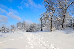 A picturesque Monastery Island winter landscape, park covered with deep snow, in the Dnipro city ,Dnepropetrovsk, Dnepr. Dnipropetrovsk, Ukraine stock photo