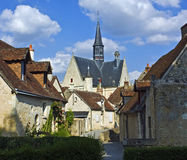 Picturesque Montresor, France. Evening view of Montresor, a medieval village in the Loire Valley, France Stock Images
