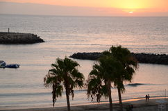 Picturesque and moody sunset over southern tenerife, canary islands Stock Image