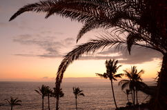 Picturesque and moody twilight over southern tenerife, canary islands Royalty Free Stock Photography