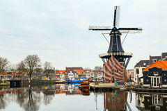 Picturesque morning landscape with the windmill, Haarlem, Holland Royalty Free Stock Photography