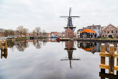 Picturesque morning landscape with the windmill,  Haarlem, Holland Stock Images