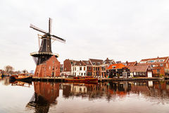 Picturesque morning landscape with the windmill,  Haarlem, Holland Stock Photography
