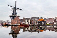 Picturesque morning landscape with the windmill, Haarlem, Holland Royalty Free Stock Photos
