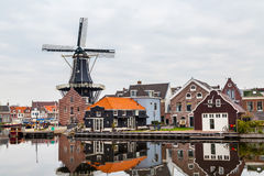 Picturesque morning landscape with the windmill, Haarlem, Holland Royalty Free Stock Image