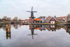Picturesque morning landscape with the windmill, Haarlem, Holland Royalty Free Stock Photo
