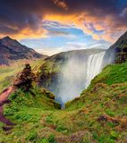 Picturesque morning view of Skogafoss Waterfall on Skoga river royalty free stock image