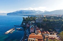 Picturesque morning view of Sorrento city, Italy. Picturesque morning view of Sorrento city and Gulf of Naples, Campania province, Italy stock photo