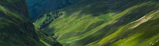 Picturesque mountain emerald valley of river Zagedanka. Royalty Free Stock Images