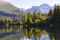 Picturesque mountain lake. Strbske Pleso. High Tatras. Slovakia. Picturesque mountain lake, surrounded by forest against the background of mountain peaks stock image