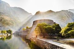 Fortress at dawn Kotor stock photo