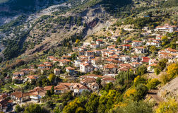 Picturesque mountain traditional village in Greece Stock Image
