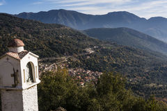 Picturesque mountain traditional village in Greece Royalty Free Stock Photos