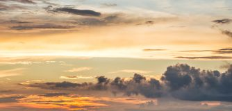 Picturesque multicolored clouds in the evening sky. Bright cloud royalty free stock photo