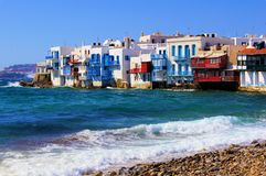 Picturesque Mykonos. View of the Little Venice district of Mykonos, Greece Royalty Free Stock Images