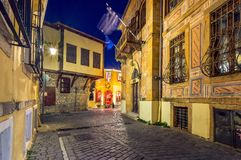 Picturesque narrow street and buildings in the old town of Xanthi, Greece.  royalty free stock image