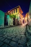 Picturesque narrow street and buildings in the old town of Xanthi, Greece.  stock photo