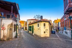 Picturesque narrow street and buildings in the old town of Xanthi, Greece. Picturesque narrow street and buildings in the old town of Xanthi, Greece on December royalty free stock photos