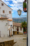 Picturesque narrow street of Morella town, Valencia, Spain. Royalty Free Stock Image