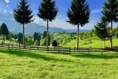 Picturesque natural landscape of green grass meadows. Forest, trees, in a rural mountain area in the Carpathian Mountains, Romania. Atmosphere of calm stock image