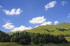 Picturesque natural sunny landscape of green alpine meadows. Panorama of mountain and the forest at foot of blue sky and clouds royalty free stock photos
