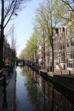 Picturesque neighborhood in the heart of amsterdam  with some amazing  reflections stock image
