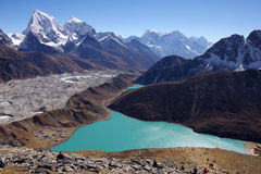 Picturesque nepalese landscape with a lake Royalty Free Stock Image