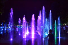 Picturesque night fountains,Plovdiv Royalty Free Stock Photography