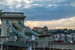 Old bridge over the Danube River in Budapest. Picturesque night sky Old bridge over the Danube River in Budapest royalty free stock photo