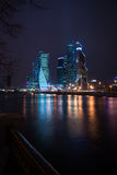 Picturesque night view of the Moscow City across the river Mosco Royalty Free Stock Images