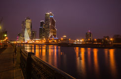 Picturesque night view of the Moscow City across the river Mosco Royalty Free Stock Photos