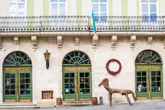 Picturesque nook, street cafe Atlas in old town Lviv. Stock Image