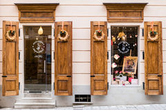 Picturesque nook, street cafe Workshop marzipan in old town Lviv. Stock Photo