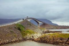 Picturesque Norway sea landscape with bridge. And storm clouds. Atlanterhavsvegen stock images