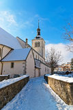 Picturesque old church near Gruyere castle Royalty Free Stock Images