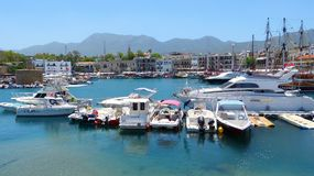 The picturesque Old Harbour in Kyrenia (Girne). Stock Photos