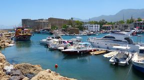 The picturesque Old Harbour in Kyrenia (Girne). Stock Images