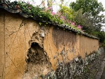 Picturesque old Japanese plaster wall ruin. In Kitsuki city, Oita prefecture stock photo