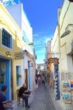 Picturesque old main street in Thira,Santorini stock photo