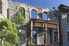 Picturesque old ruins on a background blue sky. Ukraine, Crimea, Yalta, September 11, 2012 royalty free stock images