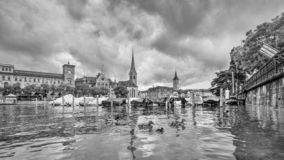 Picturesque old town with characteristic buildings seen from the river, Zurich, Switzerland royalty free stock image