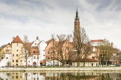 Picturesque old town of Landshut Stock Images