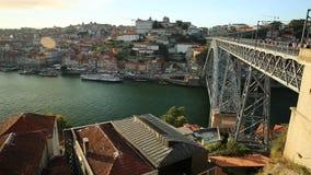 Porto Portugal skyline. Picturesque Oporto urban landscape. Aerial view of Dom Luis I on Douro River and city skyline, Vila Nova de Gaia, Porto in Portugal stock footage
