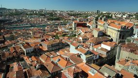 Porto skyline Portugal. Picturesque Oporto urban landscape on Douro River and city skyline from Clerigos Tower, the highest point in the city of Porto. Beautiful stock video footage