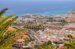 Picturesque outstanding landscape of beautiful resort costa adeje on tenerife, canary islands, spain Royalty Free Stock Photography