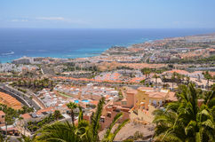 Picturesque outstanding landscape of beautiful resort costa adeje on tenerife, canary islands, spain Stock Images