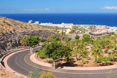 Picturesque outstanding landscape of beautiful resort playa de las americas on tenerife, spain Royalty Free Stock Photos